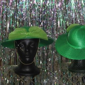 Accessories - Green Fedora Hat with Veil & Beads